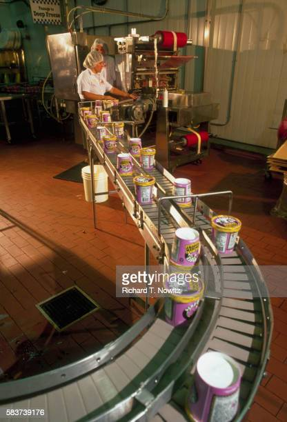 Conveyor Loaded with Pints of Ice Cream
