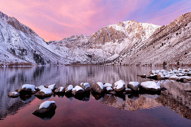 Convict Lake sunrise with fresh snow