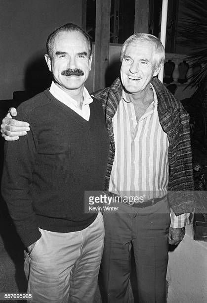 Convicted felon and Watergate perpetrator G Gordon Liddy with psychologist and LSD enthusiast Timothy Leary at Spago's restaurant in California...