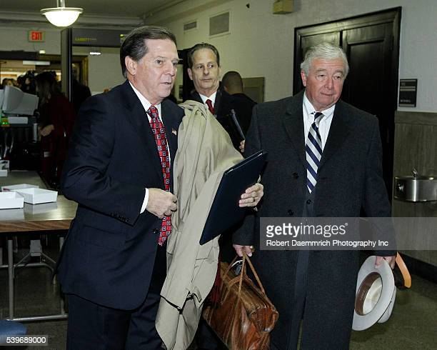 Convicted former House Majority Leader Speaker Tom Delay leaves the security area at the Travis County Courthouse with attorney Dick DeGuerin prior...