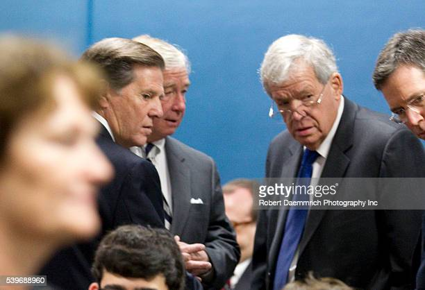 Convicted former House Majority Leader Speaker Tom Delay talks with former US Speaker of the House Dennis Hastert prior to Delay's sentencing hearing...