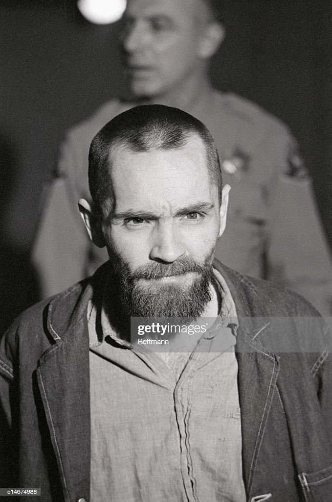 Convicted murderer Charles Manson shows up to his penalty trial with his long hair cut off.