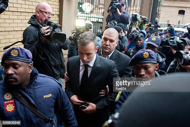 Convicted murderer Oscar Pistorius arrives at North Gauteng High Court for his sentencing proceedings on June 13, 2016 in Pretoria, South Africa....