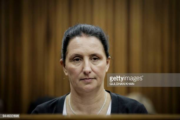 Convicted racist Vicki Momberg is pictured at the Randburg Magistrate Court to appeal the four charges of crimen injuria defined as a wilful injury...