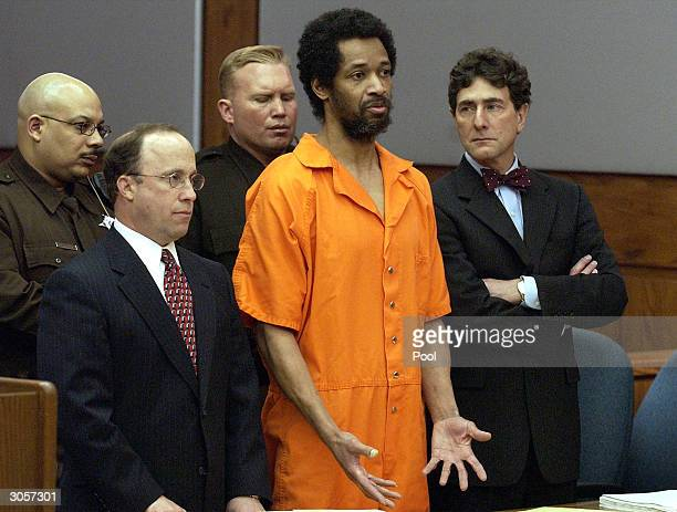 Convicted sniper John Allen Muhammad addresses the court along with his attorney's Peter Greenspun and Jonathan Shapiro prior to being sentenced to...