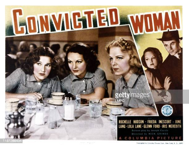 Convicted Woman lobbycard from left Lola Lane Rochelle Hudson June Lang 1940