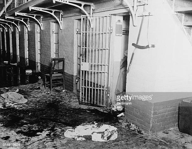 Convicts in the state prison rioted here causing one of the worst prison uproars in American penal history Photo shows where Danny Daniels ringleader...