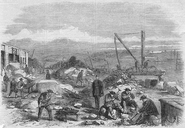 Convicts labouring at St Mary's Convict Prison on St...