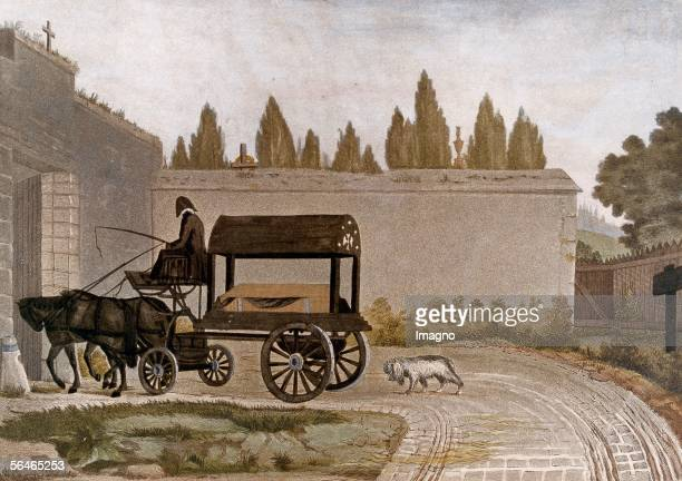 Convoi du pauvre Coloured French copper engraving showing a contemporary funeral for poor people Ludwig van Beethoven kept the engraving as a...