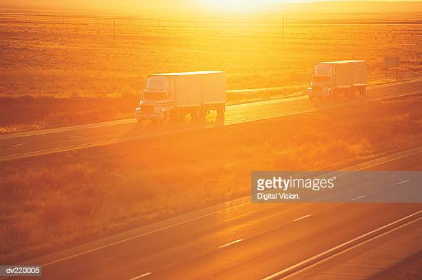 Convoy at sunset