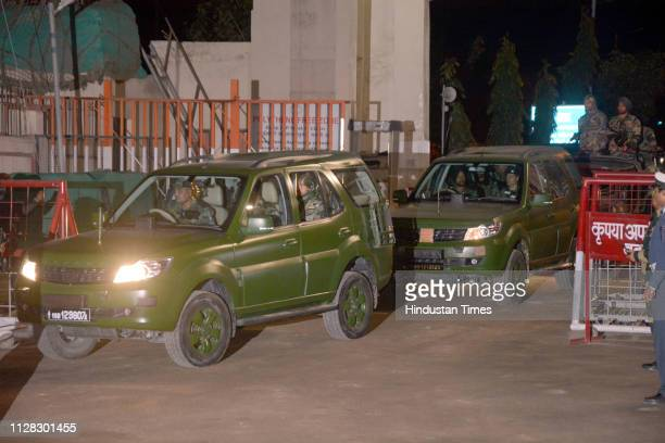 A convoy carries captured Indian pilot Wing Commander Abhinandan Varthaman after his arrival at PakistaniIndia border post Wagah on March 1 2019 in...