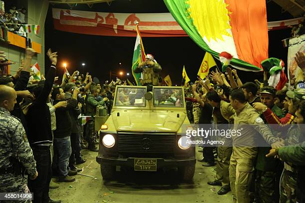 A convoy carrying heavy weapons belonging to Iraqi Kurdish Peshmerga forces arrives at the Ibrahim Khalil border crossing on the IraqiTurkish border...