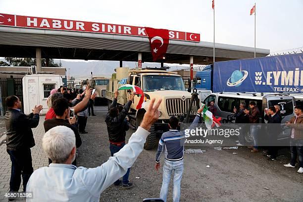 Convoy carrying heavy weapons belonging to Iraqi Kurdish Peshmerga forces, crosses into Turkey from the Habur border crossing on Turkish-Iraqi border...