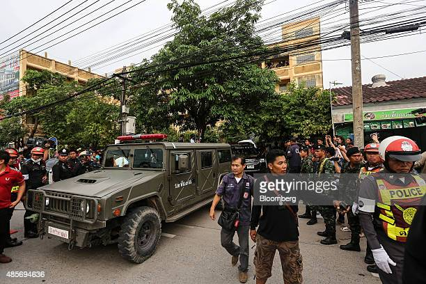 Convoy escorting a suspect of the August 17 Bangkok shrine bombing, leaves the building where he was detained, in Nong Chok, North West of Bangkok,...