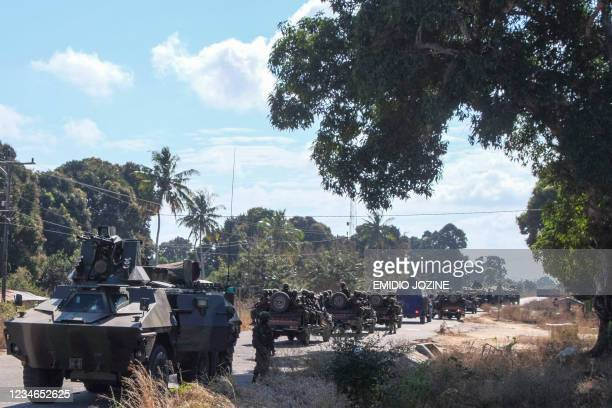 Convoy of armoured vehicles is seen patrolling in Mocimboa da Praia, northern Mozambique, on August 12, 2021. - Apart from a few soldiers on patrol,...