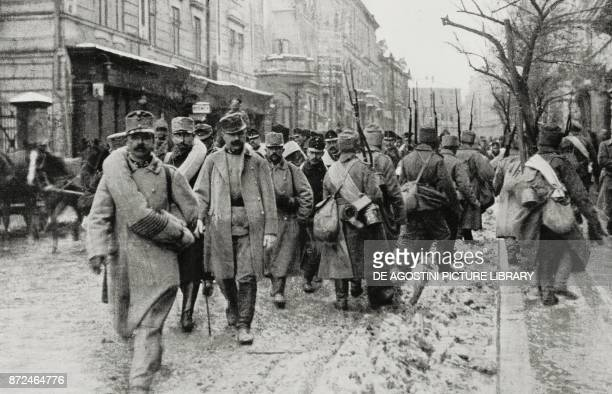 Convoy of Austrian prisoners soldiers in the streets of Przemysl after the taking of the city by the Russians Poland World War I from L'Illustrazione...