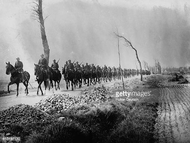 Convoy of Belgian cavalry travel to the Western Front near Ypres during World War I. In the first Battle of Ypres, October 1914, German forces failed...