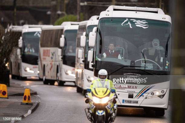 A convoy of coaches transporting eightythree Britons and 27 foreign nationals who have been evacuated from Wuhan following a Coronavirus outbreak is...