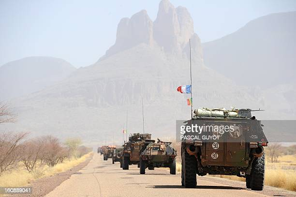 A convoy of French army vehicules head toward Gao on February 7 2013 on the road from Gossi Four Malian civilians were killed by a landmine in...
