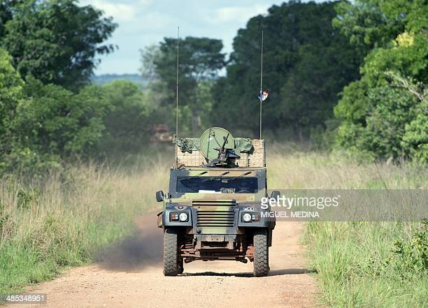 A convoy of French troops of the Sangaris forces patrols on April 17 2014 between Bambari and Ippy in the center of the Central African Republic...