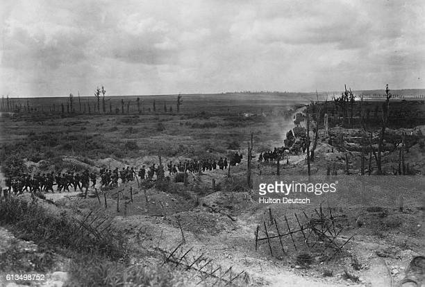 Convoy of German troops advance across a field in Champagne, France, during World War I. At the outbreak of the war 000 Allied soldiers rushed to...