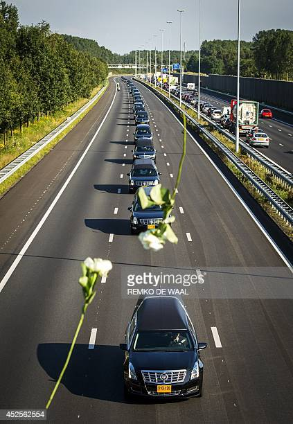 A convoy of hearses carrying coffins containing the remains of victims of the downed Malaysia Airlines flight MH17 drives from the Eindhoven Airbase...