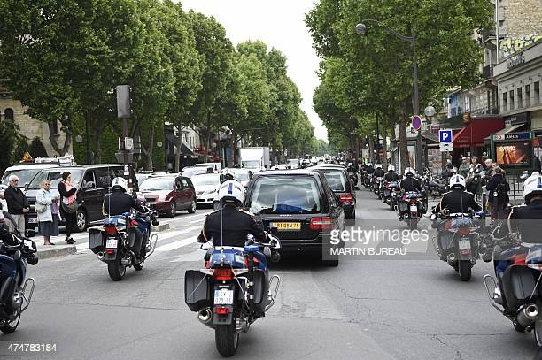 A convoy of hearses carrying the coffins of four personalities French resistant Genevieve de GaulleAnthonioz French resistant fighter during World...