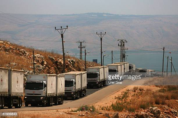 A convoy of ICRC trucks arrive at the Amiad army base on July 15 2008in Amiad Israel The trucks arrived in Amiad to carry 190 Hezbollah and...