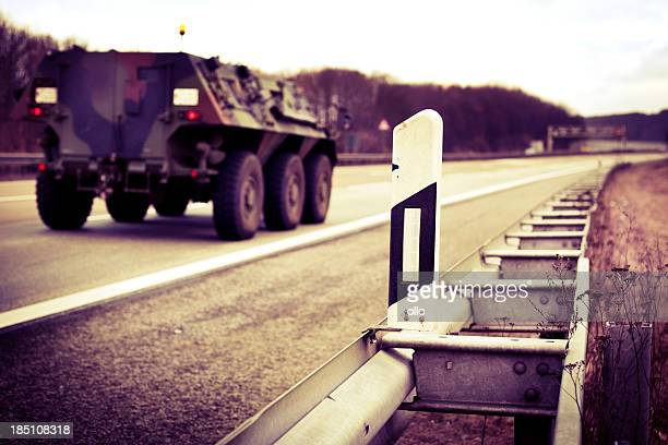 Convoy of military vehicles on german autobahn