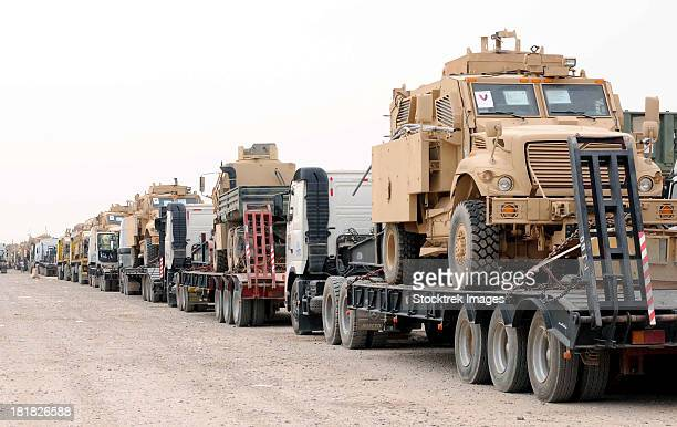 a convoy of mine-resistant ambush protected vehicles ready for departure. - military convoy stock photos and pictures