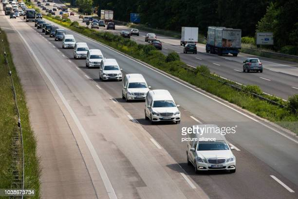 A convoy of mortuary cars carrying the bodies of Germanwings plane crash victims is headed towards the city of Haltern am See as it moves along the...
