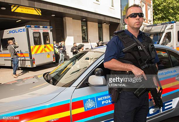Convoy of police vans carrying the Hatton Garden diamond heist suspects arrive at Westminster Magistrates court in central London on May 21, 2015....
