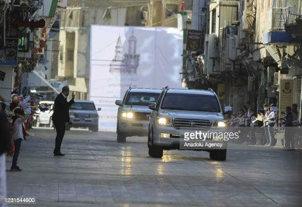 Convoy of Pope Francis arrive to meet with Shiite cleric Grand Ayatollah Ali al-Sistani in Najaf, Iraq on March 06, 2021.