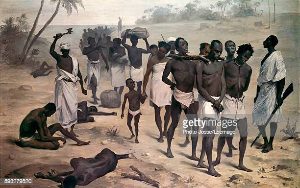 Convoy of slaves in Africa circa 1859 Anonymous painting 19th century Quai Branly Museum Paris