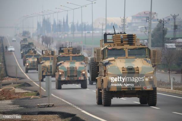 Convoy of Turkish Armed Forces arrive in Hatay province of Turkey to being deployed to to observation points in Syria's Idlib, on February 12, 2020.