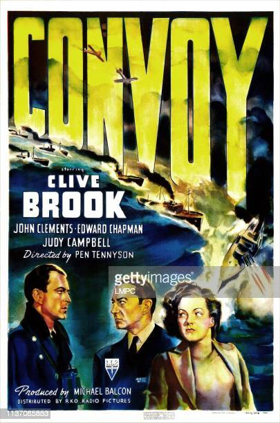 Convoy, poster, British poster, from left: John Clements, Clive Brook, Judy Campbell, 1940.