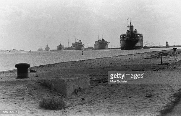 A convoy trapped on the Suez Canal near Cantara during the Suez Crisis 24th December 1956 Original Publication Picture Post 8760 Suez The Troops We...
