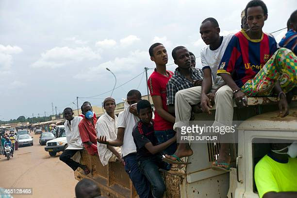 A convoy with muslims people and former seleka rebels heads to the muslim cemetery of the PK16 district of Bangui to bury 16 dead on December 11 2013...
