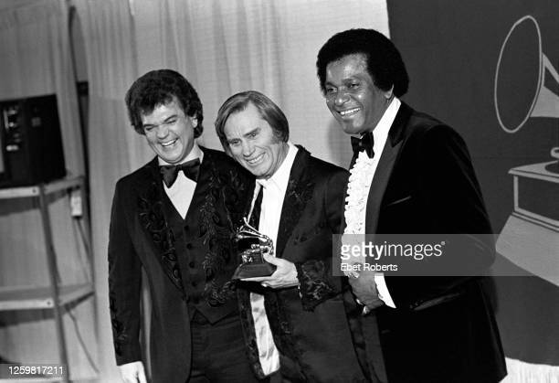 Conway Twitty, George Jones and Charley Pride at the 1981 Grammy Awards at Radio City Music Hall in New York City on February 25, 1981.