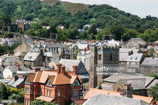 Conwy townscape, high angle view, Conwy, Wales