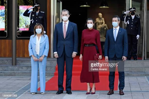 Conxita Marsol Riart , Consol Major of Andorra, and David Astrie , Consol Minor of Andorra, receive King Felipe VI of Spain and Queen Letizia of...