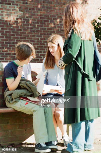 Conyers School Green Lane Yarm Stockton on Tees 27th August 1998 GCSE Students receive their exam results