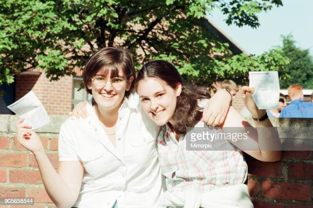 Conyers School Green Lane Yarm Stockton on Tees 27th August 1998 GCSE Students receive their exam results Pictured 16 year old twins Sarah and Helen...