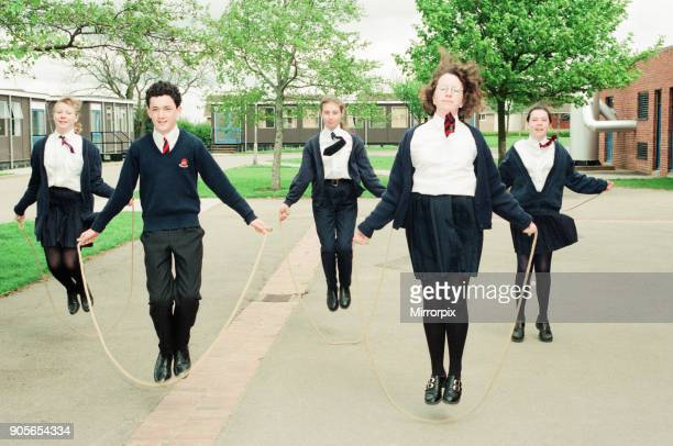 Conyers School, Green Lane, Yarm, Stockton on Tees, 4th May 1994. Students participate in sponsored skip in aid of The British Heart Foundation....