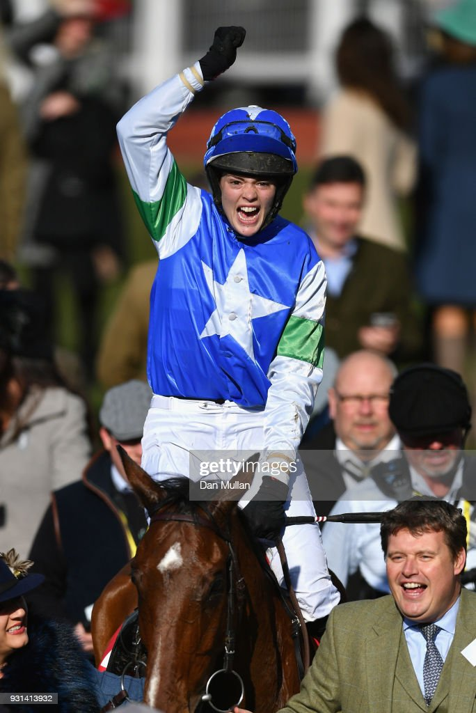 Coo Star Sivola ridden by Lizzie Kelly celebrates victory during the Ultima Business Solutions Handicap Chase on Champion Day of the Cheltenham Festival at Cheltenham Racecourse on March 13, 2018 in Cheltenham, England.