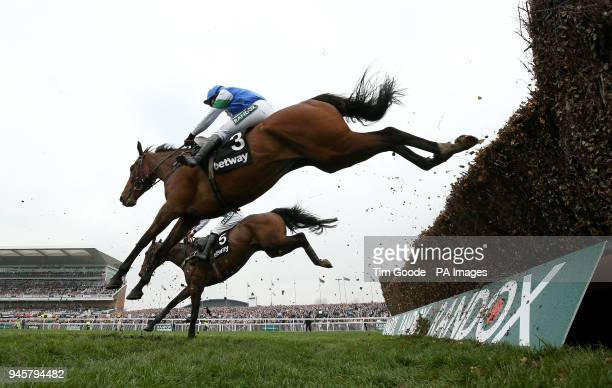 Coo Star Sivola ridden by Lizzie Kelly in action in the Betway Mildmay Novices' Chase during Ladies Day of the 2018 Randox Health Grand National...