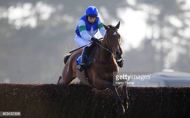 Coo Star Sivola ridden by Lizzie Kelly jump the last on their way to winning the 188Bet Cheltenham Festival Preview 6th March Chase at Exeter...