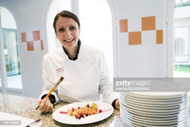 Cook AnneSophie Pic in the kitchen of the hotel restaurant Pic on October 06 2010 in Valence France