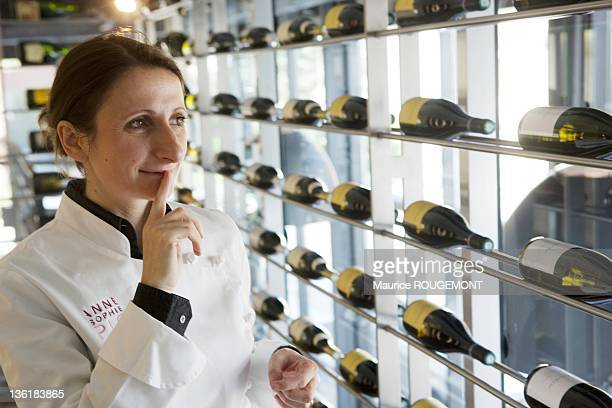 Cook AnneSophie Pic in the wine cellar of the hotel restaurant Pic on October 06 2010 in Valence France