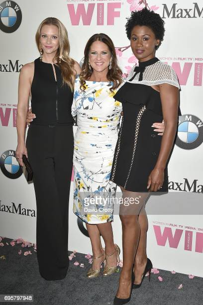 A J Cook Cathy Schulman and Emayatzy Corinealdi attend the Women In Film 2017 Crystal Lucy Awards Arrivals at The Beverly Hilton Hotel on June 13...
